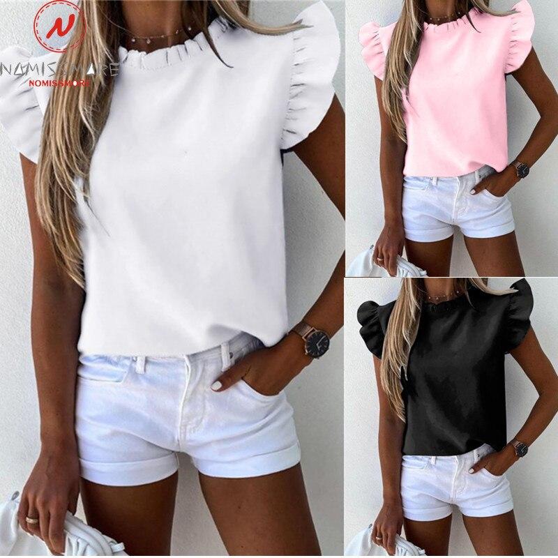 Модные женские летние однотонные футболки с оборками, украшенные круглым вырезом, тонкие пуловеры, топ, женская уличная одежда, рубашки