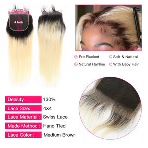 Image 4 - Facebeauty 1B/613 Honey Blonde Brazilian Straight Remy Human Hair 3 Bundles with Lace Closure,Blonde Ombre Bundles with Closure