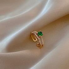 MENGJIQIAO moda yeşil kristal narin zirkon ilmek ayarlanabilir yüzük kadınlar kızlar için mikro açacağı 2 katmanlı parmak yüzük takı