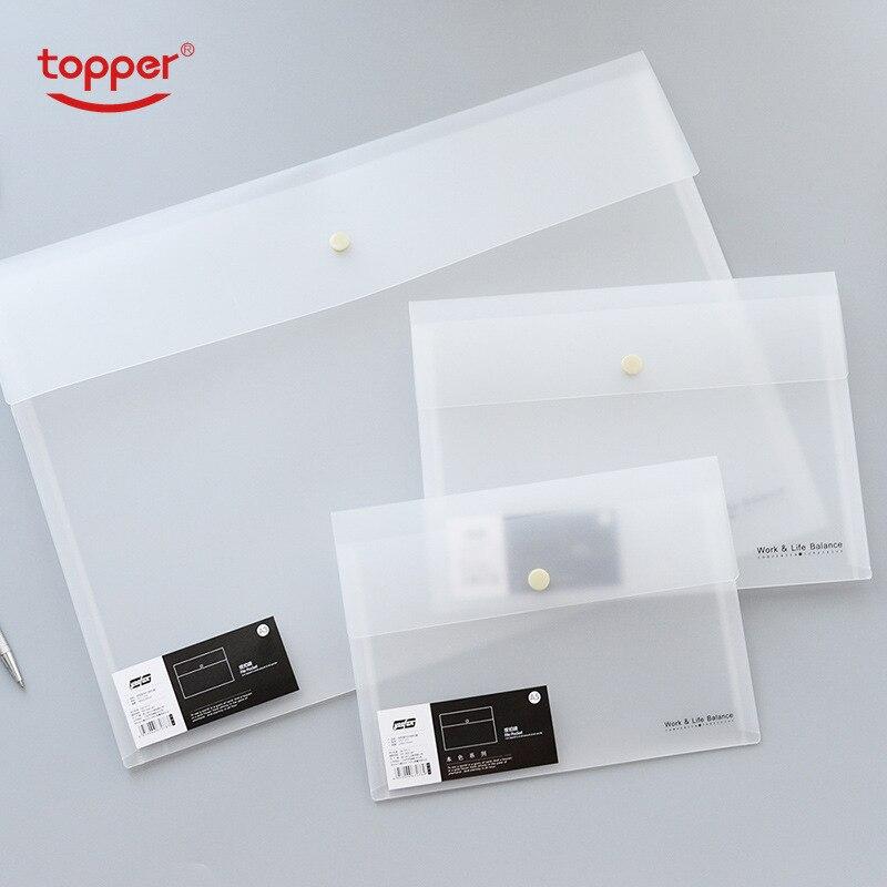TOPPER Transparent PP File Bag Frosted Portfolio Bag Snap Information Bag A5 B5 A3 Size Documney Bag Student Office File Folder