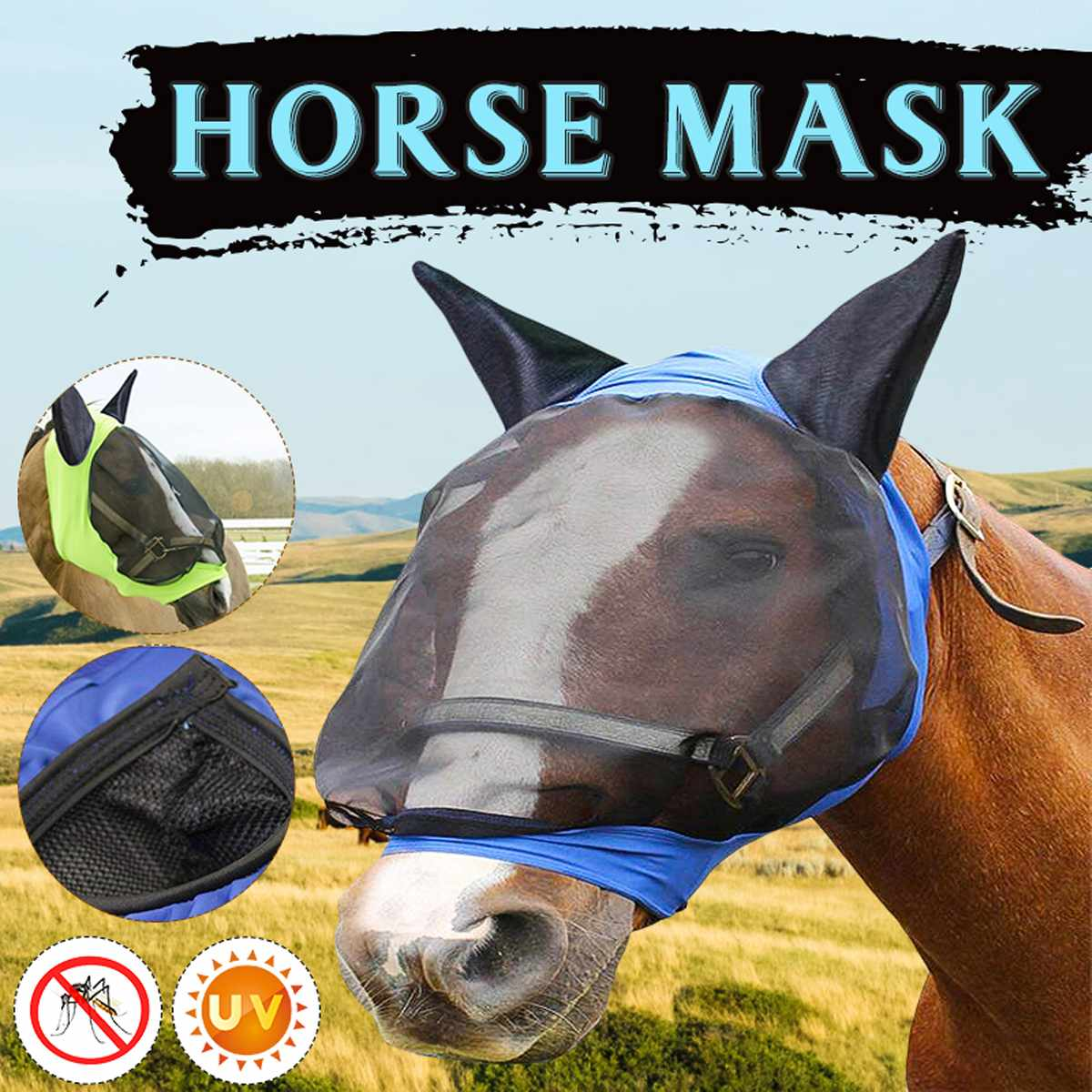 Horse Detachable Mesh Mask Cap Mesh UV Sun Protective Anti-mosquito  Horse Full Face Mask