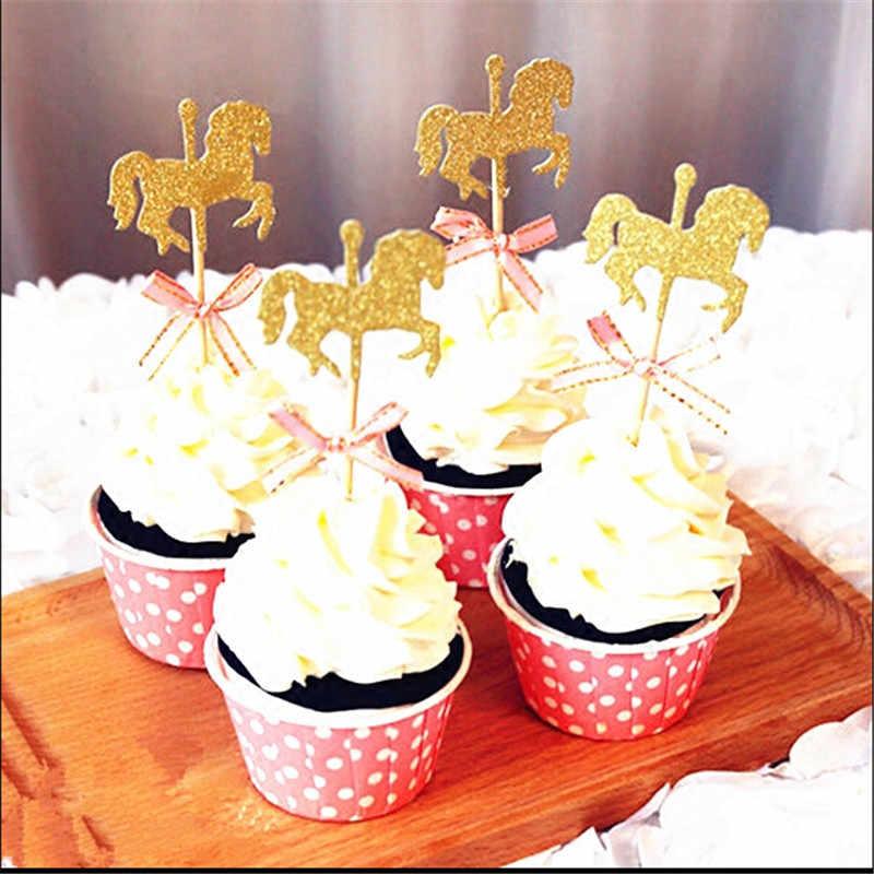 لتقوم بها بنفسك اليدوية كعكة ديكور الحصان قطاعات الكيك مع ربطة القوس فيونكة بريق الذهب كاروسيل حفل زفاف عيد ميلاد كعكة الديكور 5 قطعة