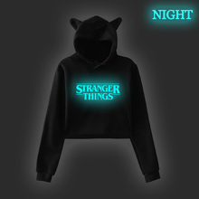 Hot Stranger Things Crop Sweatshirt Vintage Style Graphic Hoodies Women Luminous Print Sweatshirt Lady Dreamy Top Cropped Hoodie цена и фото