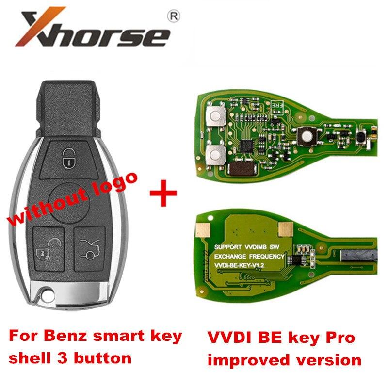 Chave inteligente escudo 3 botão para mercedes benz sem montagem do logotipo com xhorse vvdi ser chave pro versão melhorada perfeitamente