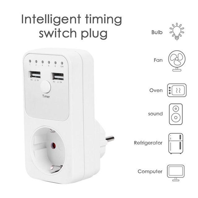 Dual Usb Eu Plug Timing Socket Tijdschakelaar Countdown Outlet Controller Smart Elektrische Huishoudelijke Socket Plug Adapter