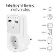 Enchufe Dual USB de la UE, temporizador, interruptor, cuenta atrás, controlador de salida, toma de corriente inteligente para el hogar, adaptador de enchufe