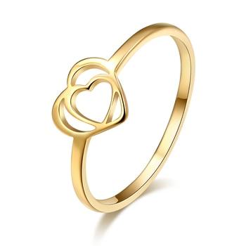 DOTIFI романтическое Двойное сердце кольцо золото серебро Мода 316L нержавеющая сталь обручение ювелирные изделия подарок на день Святого Валентина E77|Кольца|   | АлиЭкспресс