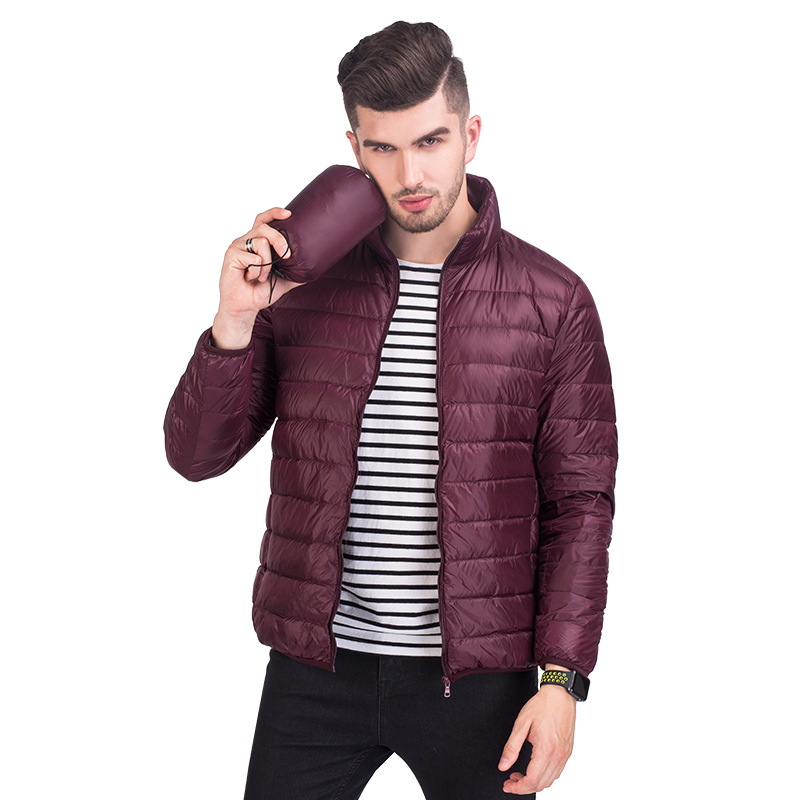 Autumn Spring   Down   Jacket Man Ultra Light & Thin Plus Size Stand Collar Casual   coat   Winter Jacket Men 90% White Duck   Down     Coat