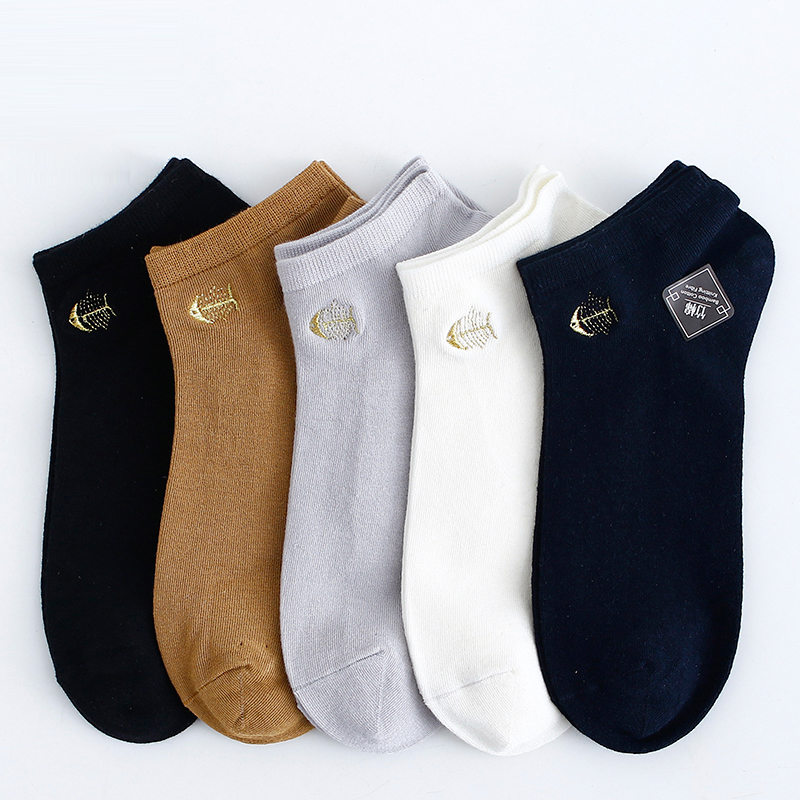 2020 New Men's Bamboo Biber Socks Fishbone Embroidery Deodorizing Men's Boat Socks Summer Thin Style Socks Black