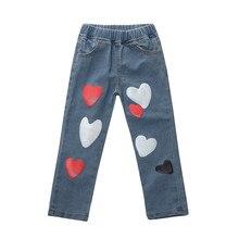 Штанишки для малышей джинсовые штаны для новорожденных девочек, джинсовые штаны-шаровары секси джинсы брюки с принтом сердца, хлопковые повседневные штаны