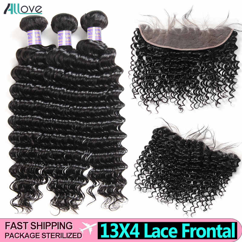Allove Deep Wave Bundles With Frontal Malaysian Human Hair 3 Bundles With Closure 13X4 Frontal With Bundles Deep Wave Non Remy