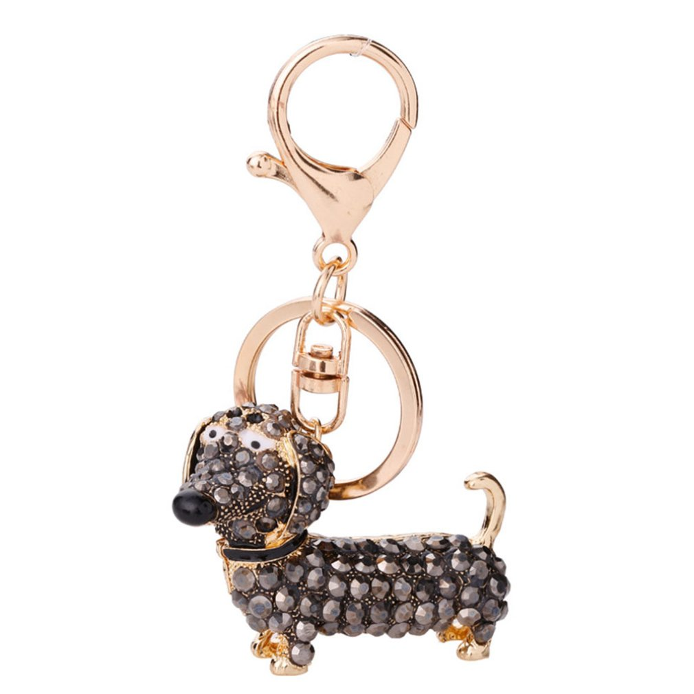 Small Lovely Cute Rhinestone Dachshund Dog Design Keychain Bag Car Key Ring Charm Pendant Best Gifts For Purse 2019