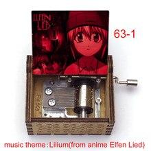 Criativo impressão a cores anime elfen mentiu música tema lilium lucy imprimir 18-nota de madeira caixa musical música brinquedos para crianças meninas amigos