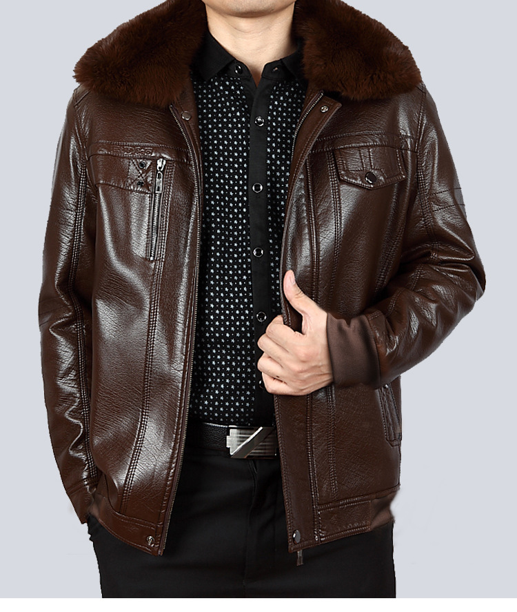 Off Season Middle-aged Leather Coat Brushed And Thick Coat Daddy Clothes Middle-aged Men Autumn & Winter Leather Jacket Men'S We