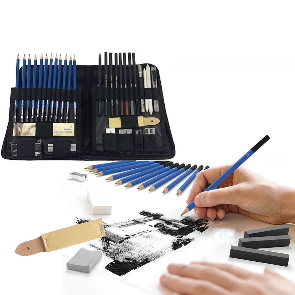 48 Pcs/lot Sketch Drawing Tool Set Profession Painting Set Art Supplies Pencil Stick Eraser Knife Pencil Extender Sharpener