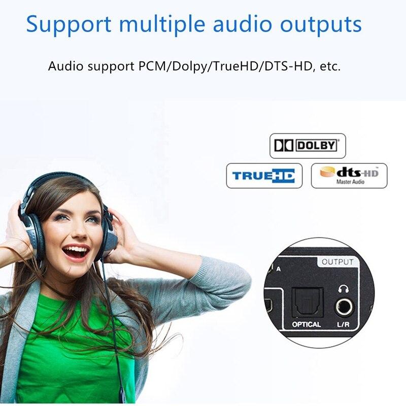 Commutateur matriciel Hdmi 4 en 2 séparateur de sortie 18G bande passante Fiber optique séparateur Audio Am-B42A noir