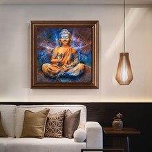 Statue de bouddha doré peinture à l'huile sur toile affiches d'art mural et impressions photo murale nordique pour salon décor à la maison