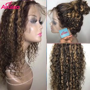 13x6 Curly Wig Honey Blonde Ombre Highlight Lace Front Human Hair Wigs Remy Full 360 Lace Frontal Wig 180 Density HD Closure Wig(China)