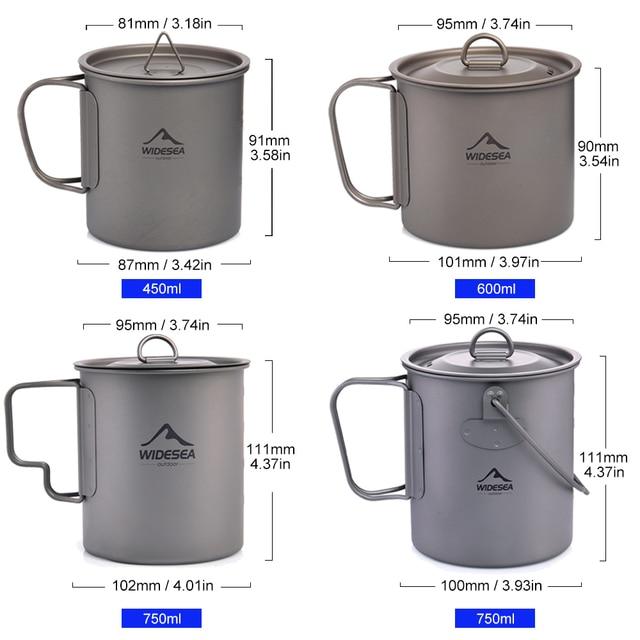 Widesea Camping Mug Titanium Cup Tourist Tableware Picnic Utensils Outdoor Kitchen Equipment Travel Cooking set Cookware Hiking 3