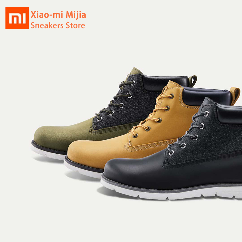 Xiaomi Mijia Men's Ankle Boots Winter Shoes Waterproof Nonslip Rubber Sole Wearable Comfortable Snow Warm Boots Black Army Green