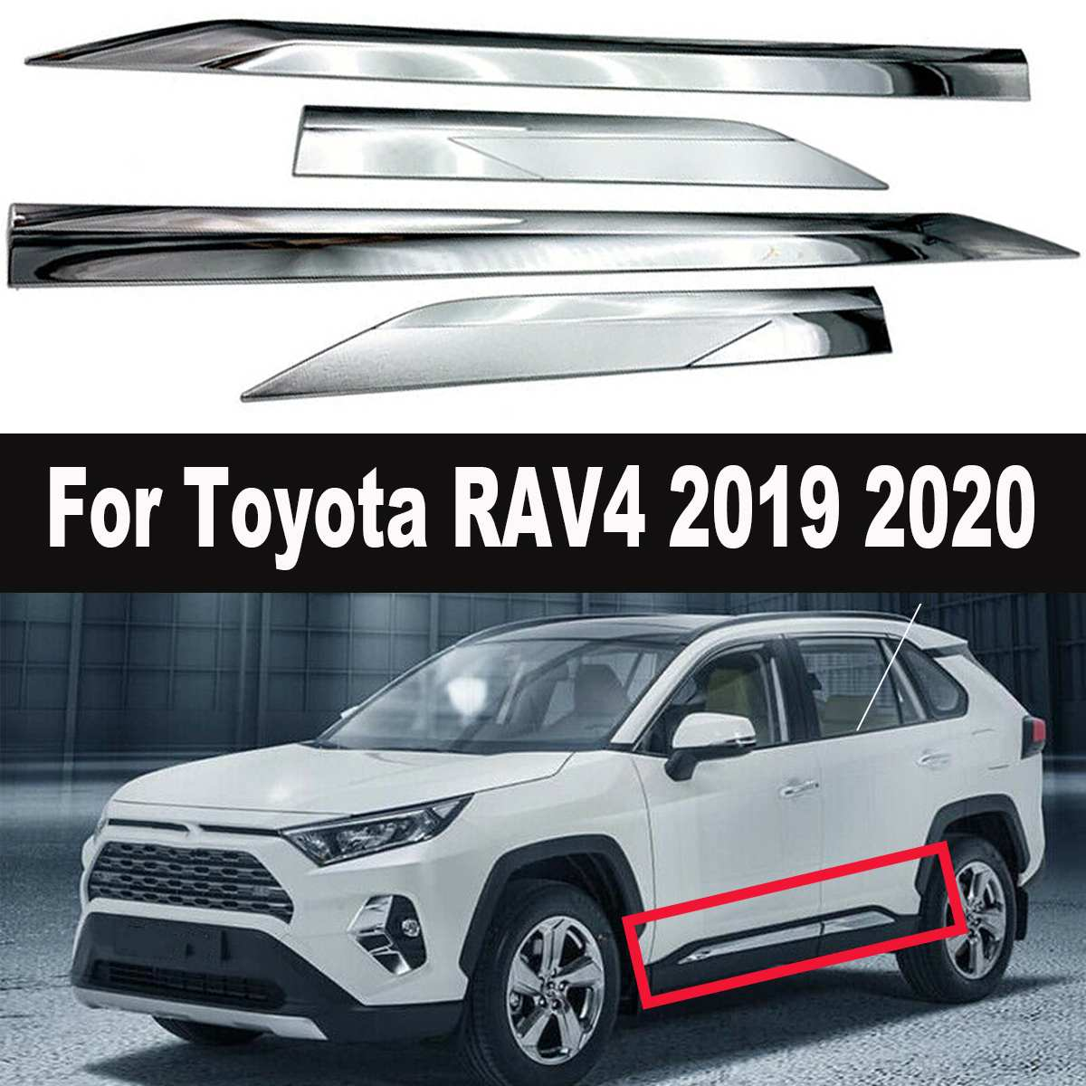 "BLACK BODY SIDE Moldings TRIM Mouldings 2/"" WIDE For TOYOTA RAV4 2010-2020"