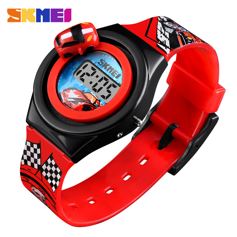 New SKMEI 1376 Cartoon Car Children's Watch Fashion Digital Electronic Children Watch Creative Cartoon Student Watch Boy Child