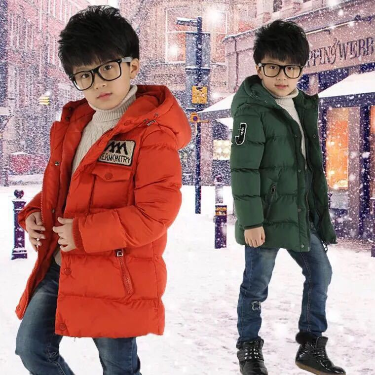 Baby Winter New Down Jacket Boy Cotton Jacket Children's Jacket Letter Printed Cotton Clothing Plus Velvet Thick Warm Hoodedcoat