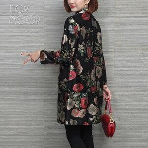 Image 2 - Novmoop rus rahat çiçek baskılı artı boyutu hakiki deri ceket kadın kış bahar ceket cuero genuino chaqueta LT2967