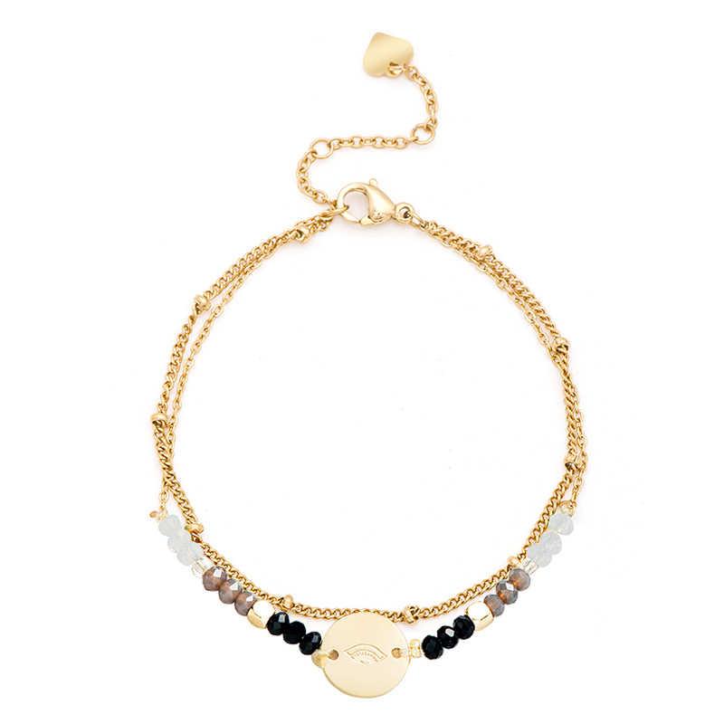 Febbre & Trasporto Perline Colorate In Acciaio Inox Bracciali e Braccialetti A Più Strati Rotonda In Oro Boho Bracciale Set Femme Gioelleria raffinata e alla moda del Regalo