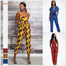 Bohisen African Print Women's Sexy Lace Up Jumpsuit Summer African Dresses for Women Floral Print Bazin Vestidos African Clothes