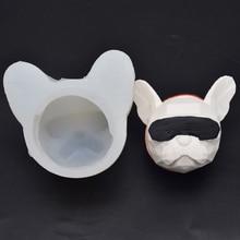 New 3D Wearing Sunglasses Collar Bulldog Dog Head Handmade S