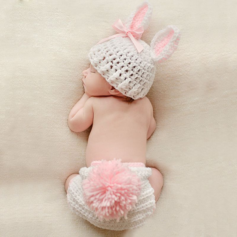 Children's Photography Wool Clothing Baby Clothing Handmade Knitted Cotton Wool Cartoon Rabbit Baby Girl Clothes   CHD10149