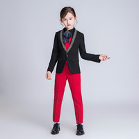YuanLu 2019 4PCS Kids Suit For Girls Blazer Coat Wedding Party Piano Silm Fit Costume Children Coat Red/Black Handsome Dress