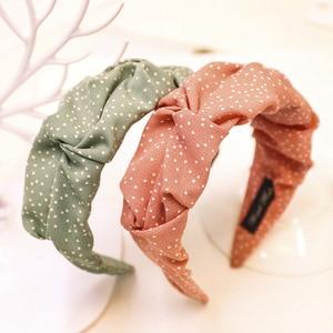 2020 Vintage Dot Fold Hair Band For Women Hair Accessories Girls Headband Hoop Hairband bandeau cheveux opaska do wlosow