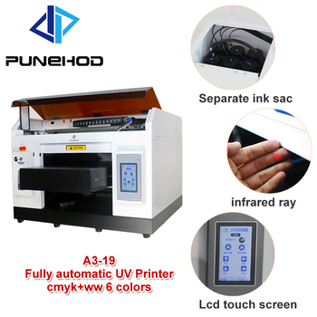 punehod manufacturer price flatbed uv printer for phone case\card\t shirt\glass printing machine 6  Independent  ink cartridges