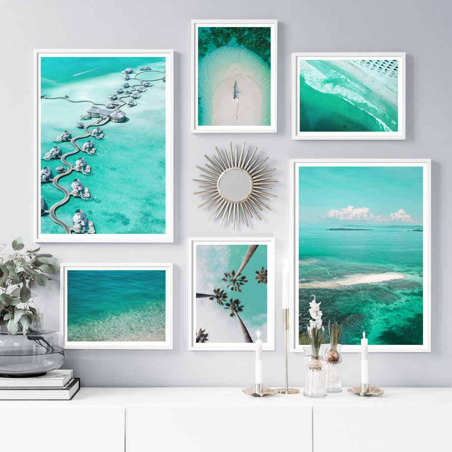 Ocean Bridge House Sea Beach Palm Wall Art Print Canvas Painting Nordic Posters And Prints Pictures For Living Room Decor