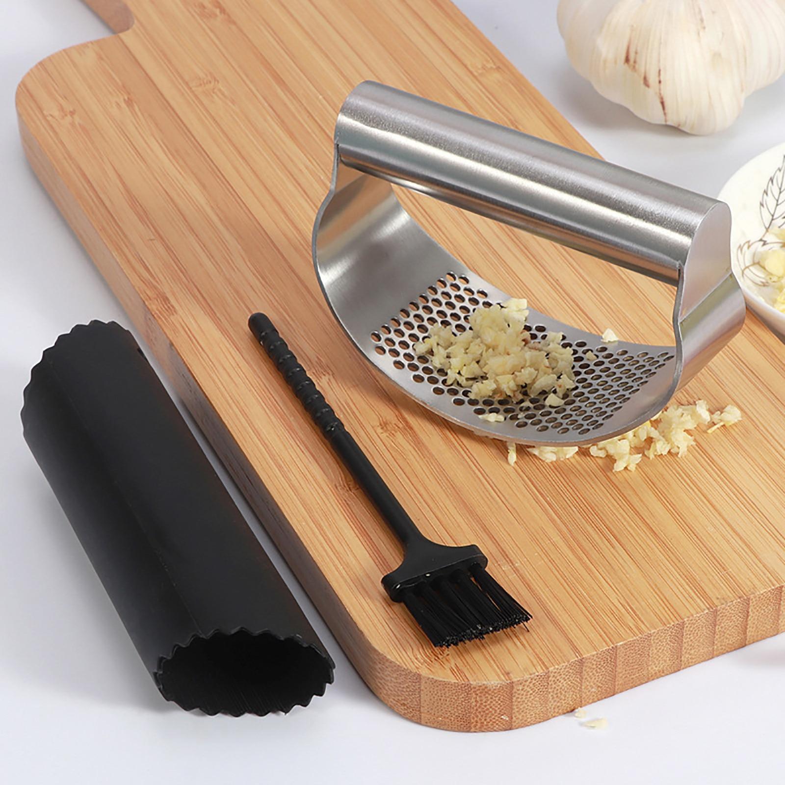 Alho imprensa triturador de aço inoxidável 100% manual da cozinha espremedor masher durável alho picador rocker para acessórios cozinha