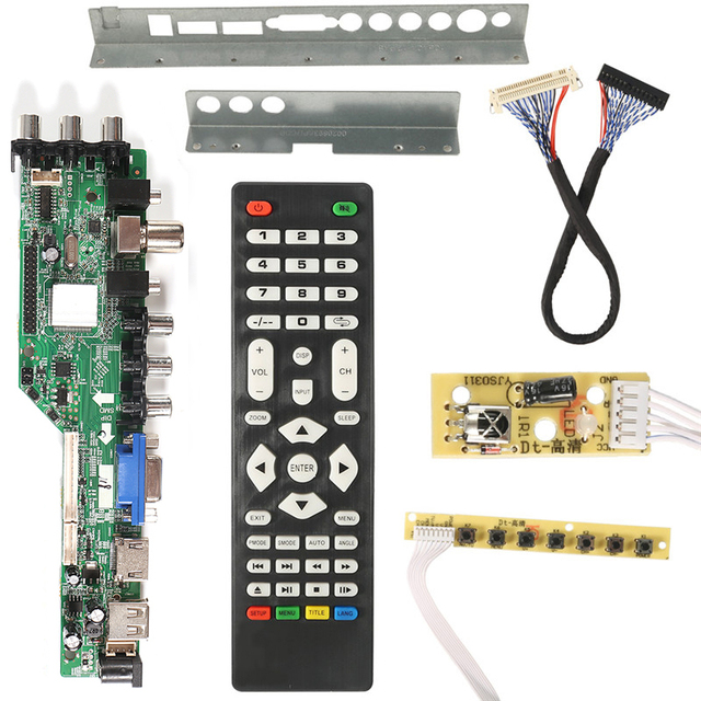 3663 NEW Digital DVB C DVB T/T2 Universal LCD LED TV Controller Driver Board+7 Key Button + Iron Baffle Stand 3463A Russian