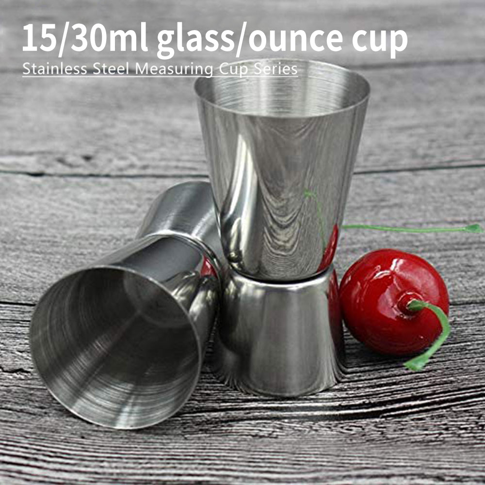 15/30ml Stainless Steel Measuring Cup Measuring Wine Glass Ounce Cup Cocktail Drink Liquid Measuring Cup Kitchen Accessories