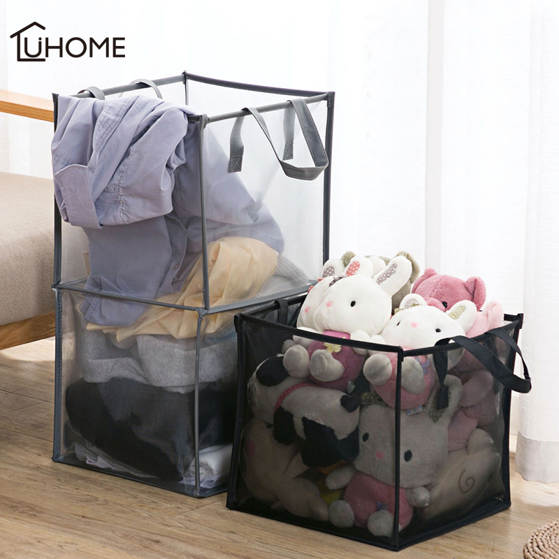 Folding Mesh Clothes Washing Laundry Basket Toy Storage Box Super Large Bag Washing Dirty Clothes Big Basket Organizer Bin