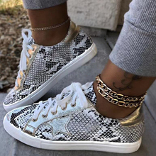 цены Fashion Colorful Sneakers Women  Art Lace Up Sneakers Snake pattern Floral Chic Walking Shoes All season Ladies Shoes D30