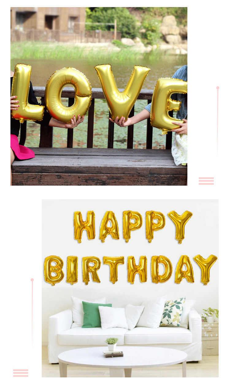 Happy Birthday PARTY บอลลูนตกแต่งงานแต่งงานบอลลูน 16 นิ้วตัวอักษรฟอยล์บอลลูนฝักบัวอาบน้ำเด็กสาวอุปกรณ์