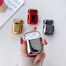 Boîtier de chargement rigide pour écouteurs Apple AirPods 1/2, plaqué or, paillettes, étui de luxe brillant pour écouteurs Bluetooth
