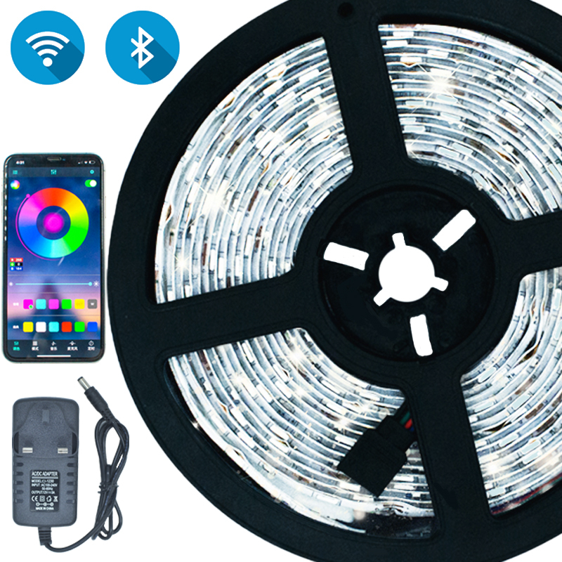 LED Strips Bluetooth Iuces Led RGB 5050 SMD 2835 Waterproof Flexible Lamp Tape Ribbon Diode DC12V 5M 10M 15M 20M WiFi LED Lights