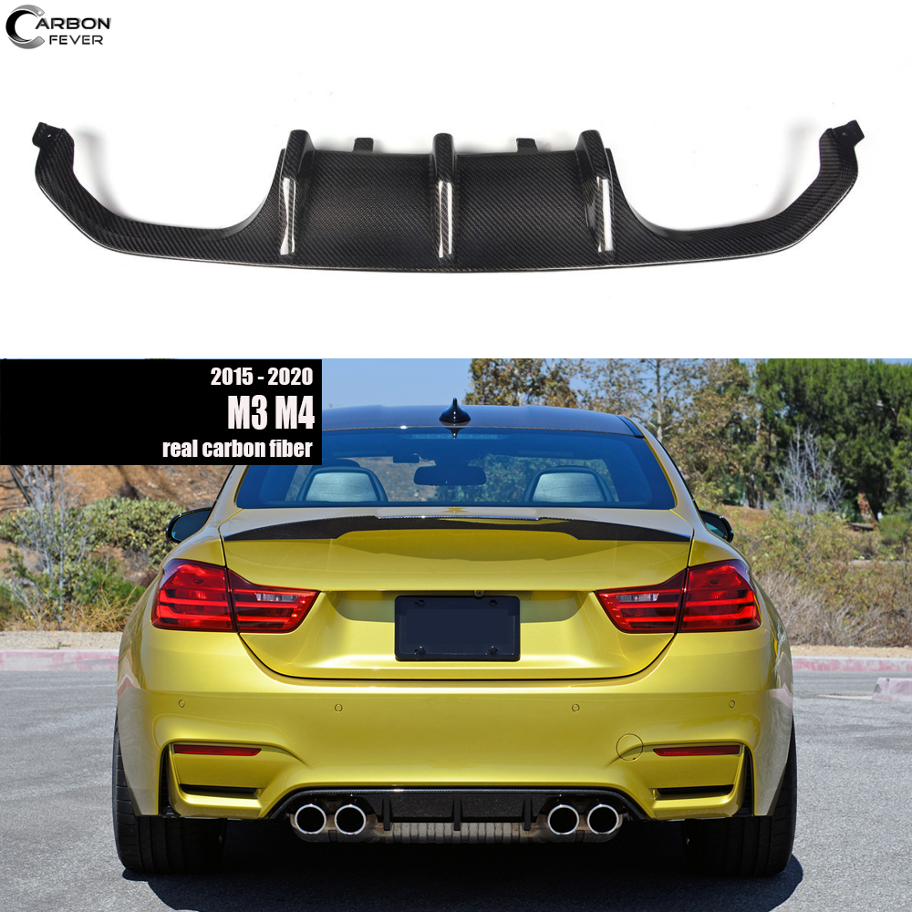 For BMW F80 M3 F82 & F83 M4 Rear Bumper Diffuser Chin Lip 2015 - 2020 in Carbon Fiber Gloss Finish image