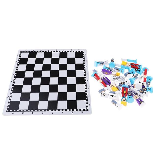 Jeu d'échecs en bois pour enfants enfants style fantaisie, bleu 5