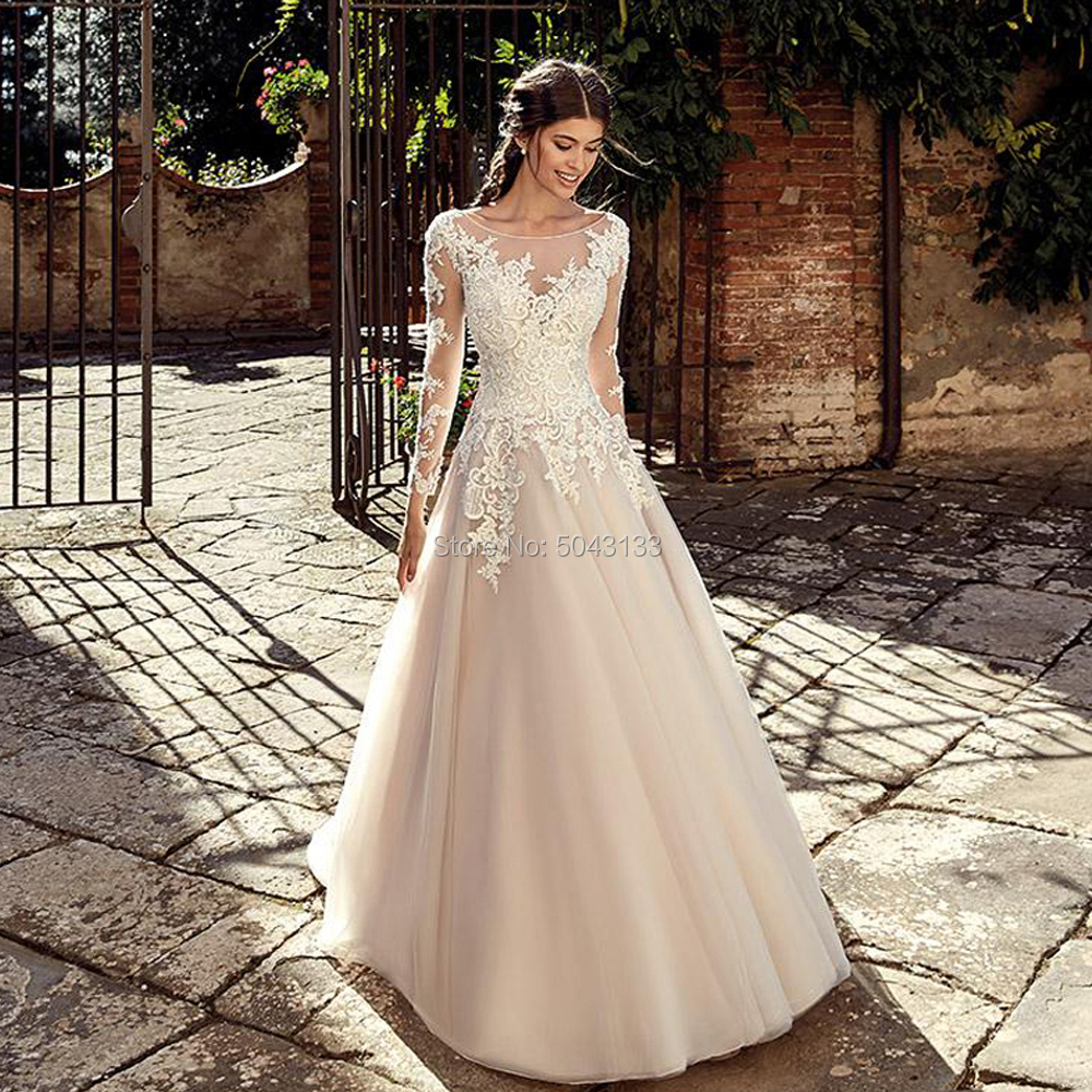 Champagne A Line Long Sleeves Wedding Dresses Lace Appliques Scoop Neck Buttons Back Floor Length Formal Bridal Gowns 2020