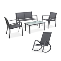 Sigtua 5 Seater Outdoor Garden Furniture Set with 2*ArmChairs,1*Double Chair Sofa,1*Rocking Chair,1*Glass Coffee Table