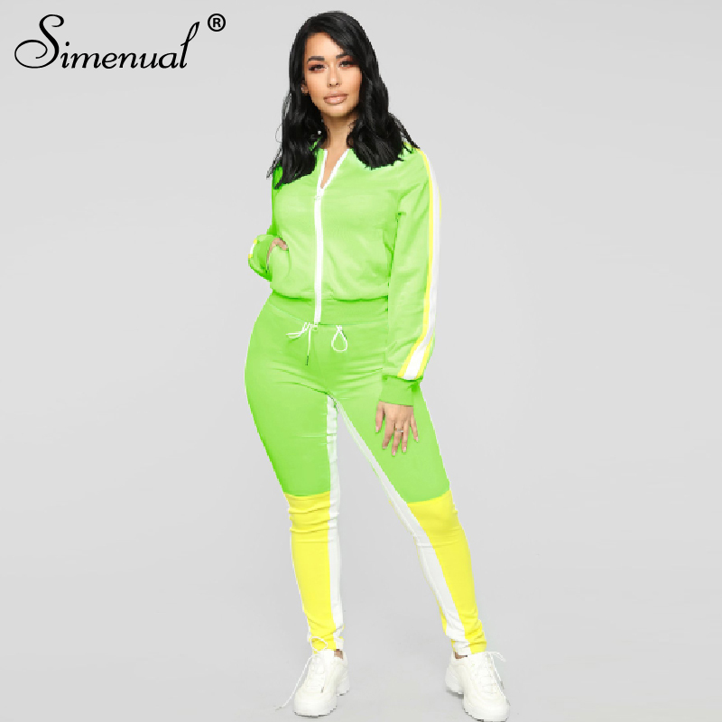 Simenual Sporty Patchwork Women Matching Sets Autumn Active Wear Workout 2 Piece Outfits Zipper Long Sleeve Casual Fashion Set