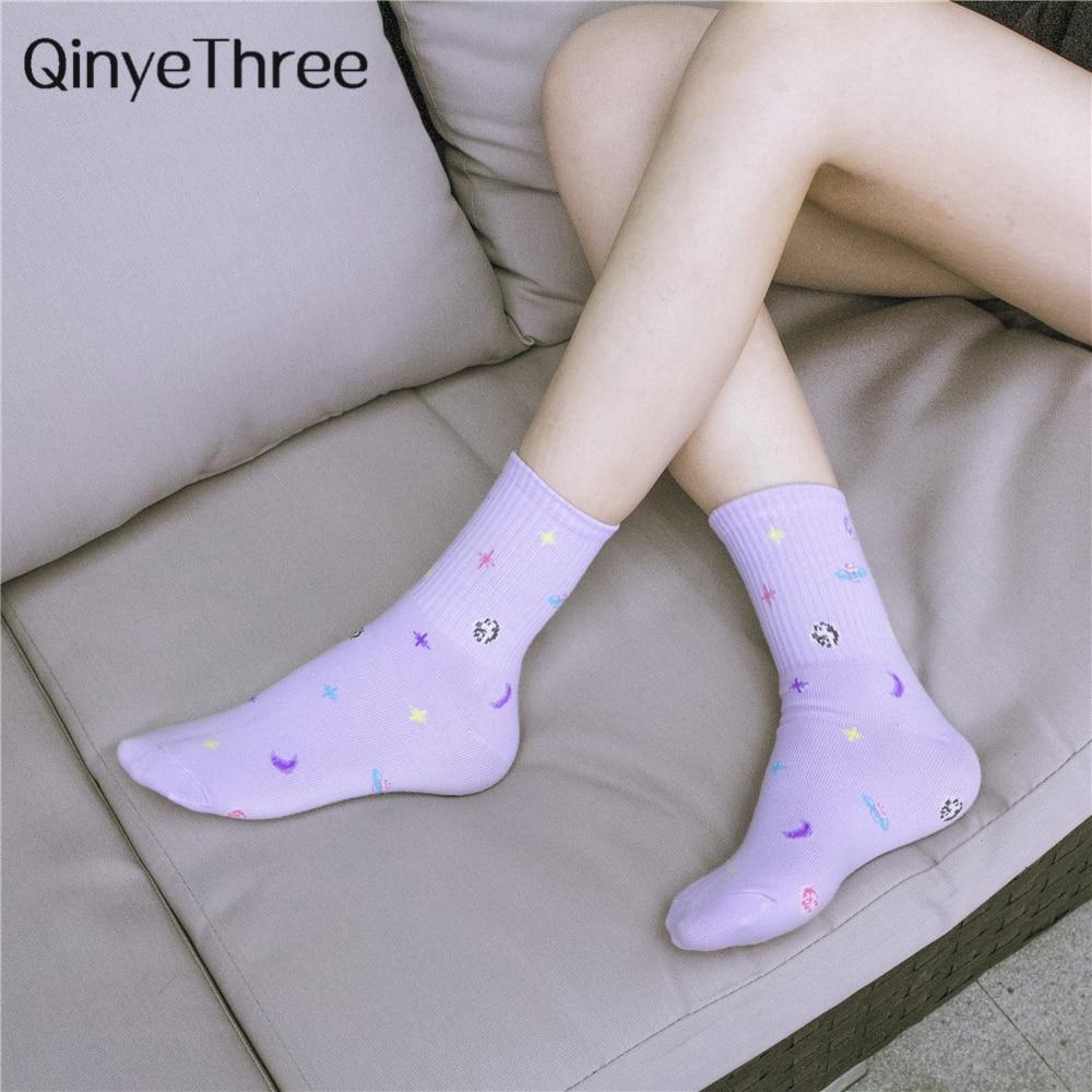 INS Women Soft Cotton All Season Socks New Fashion Space Wild Series Deodorant Socks Starry Sky Universe Hipster Skateboard